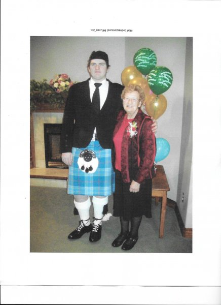 Mom and bagpiper A.J.