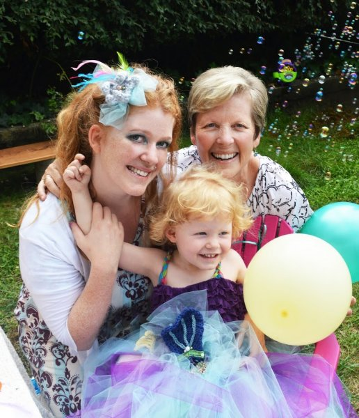Granddaughter Stephanie with her daughter, Cadence and mother, Helen.jpg
