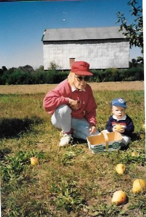 Nathan Picking Pears With Grandma