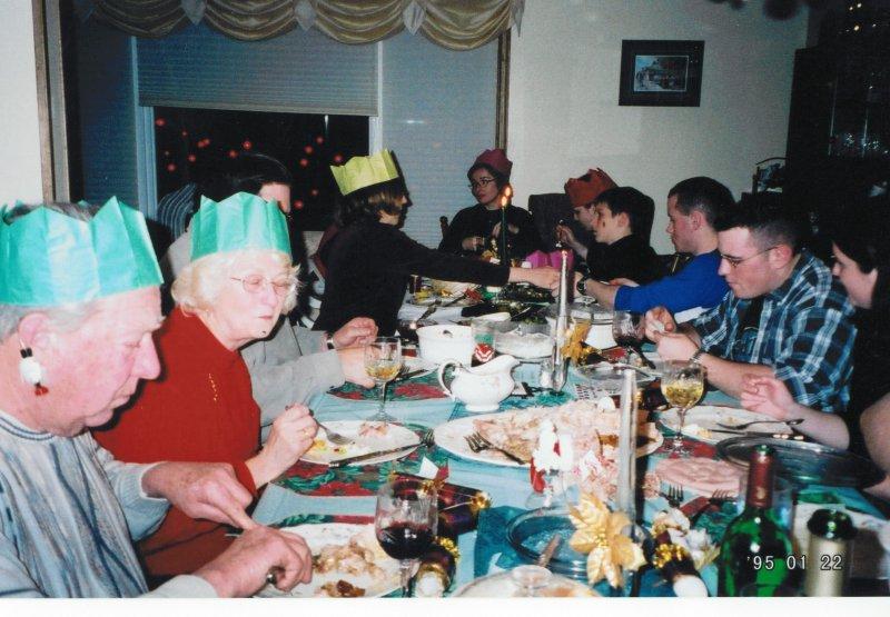 Christmas family dinner fun at Guelph circa 1995