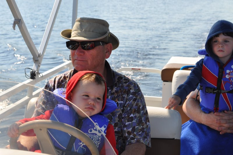 Cottage 2011 Boat ride Ken Jr and the 2 boys