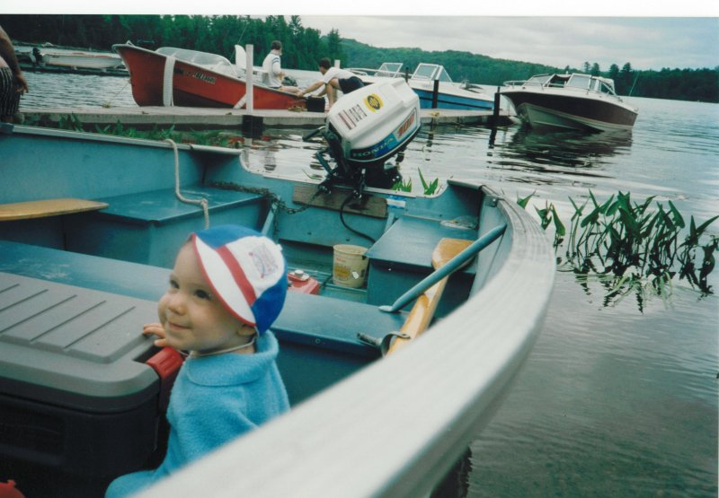 Cottage Andrew or Matt a few years old in boat