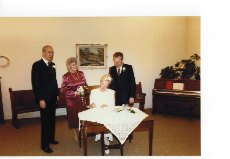 Dad Elsie Barb and Jim at wedding