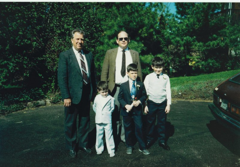 Dad and 3 boys mid '80s
