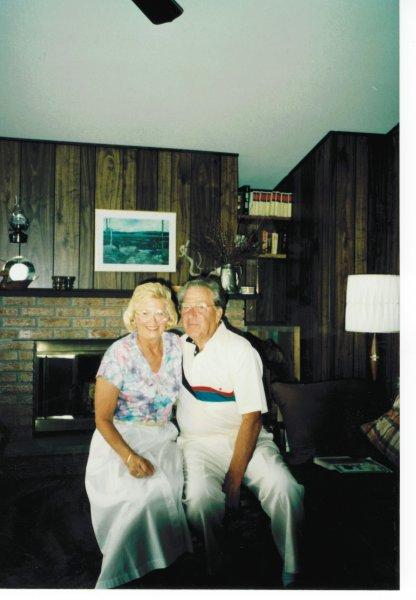 Dad and elsie at cottage 2000