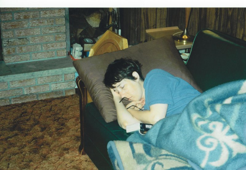 Mary C sleeping on coottage couch 1994