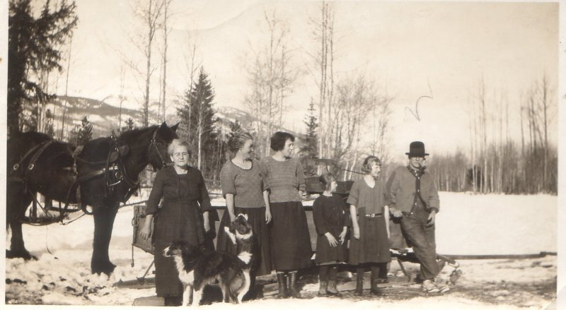 Mother, Mrs Brand, myself, Irene,Alberta, Mr. Brand Hilda Petrie people from out west