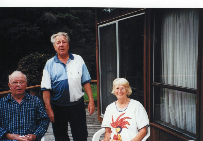 Ruth and Harry at cottage with Dad and Elsie 2000