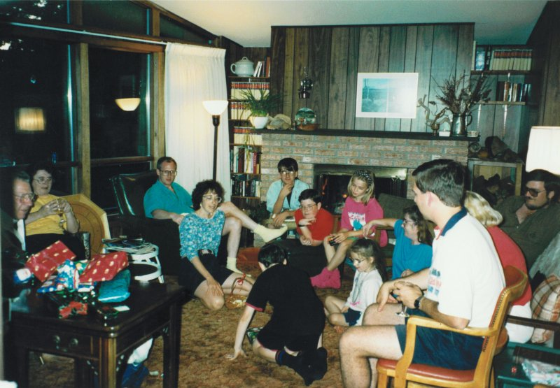 family at cottage in living room mid 90's