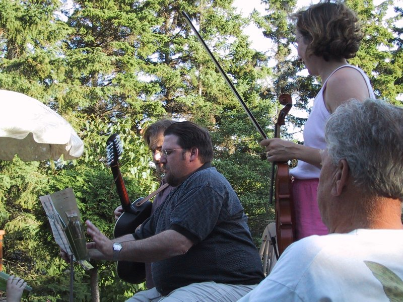 musicians and dad at cottage 2002