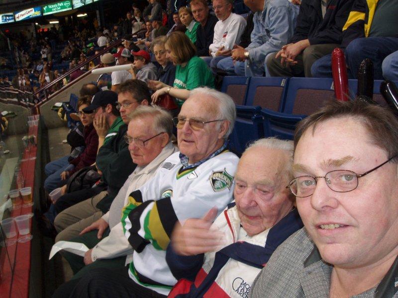 Hall men at hockey game