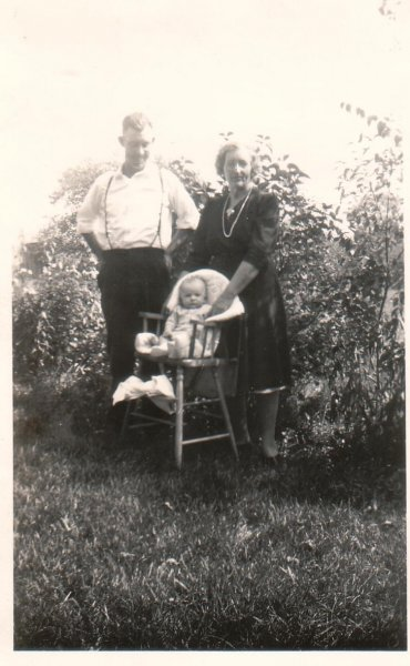 Grandma Walsh, Dad, and Joe (1944)