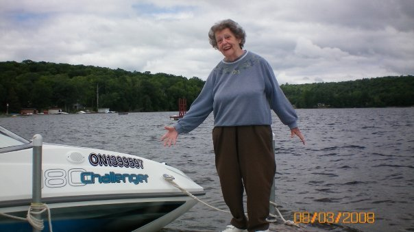mom on dock