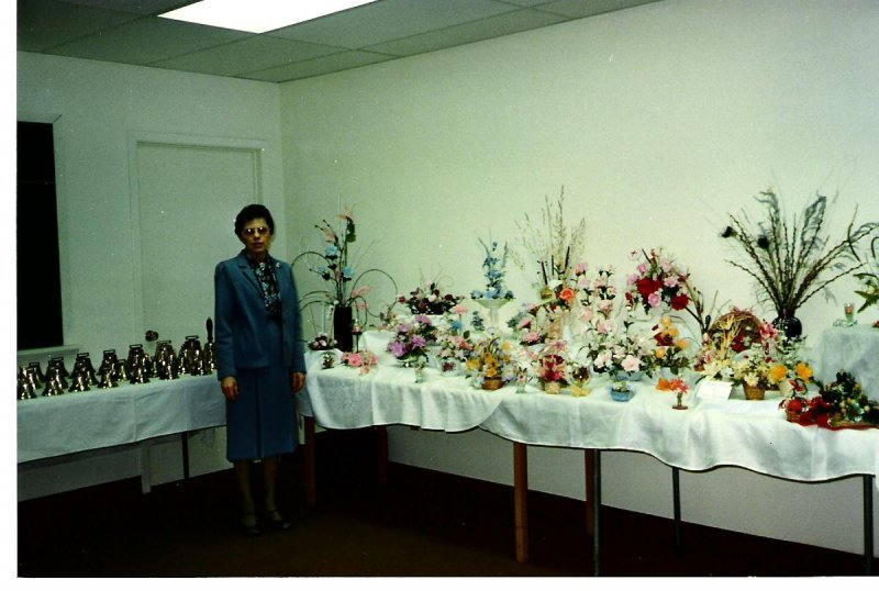 1980s-josie-with-floral-display-at-the-church