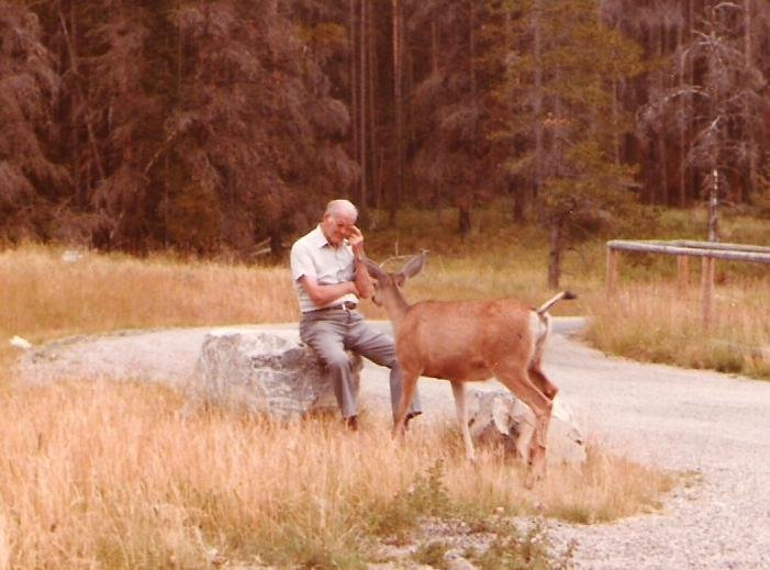 1984-08-11-red-rock-canyon-waterton-lakes-alberta-mahlon-having-a-conversation-with-a-deer