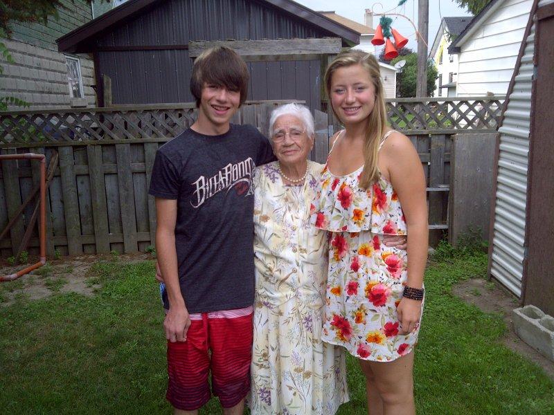 Alana & Mac with grandma in the summer